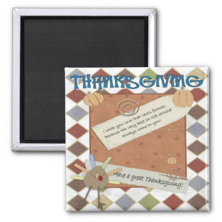 thanksgiving day wishes 2 inch square magnet
