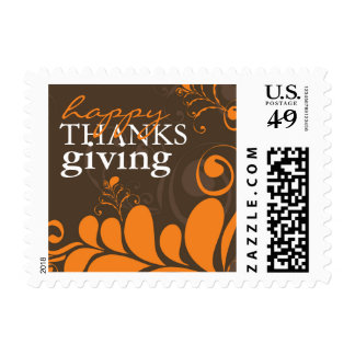 Thanksgiving Deco Leaves Swirls Holiday Stamps