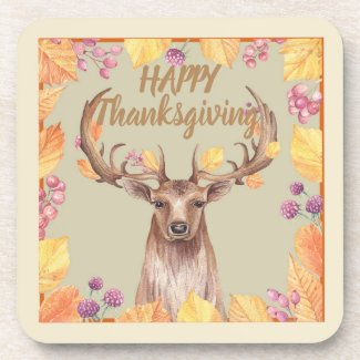Thanksgiving Deer, Buck Design Coaster