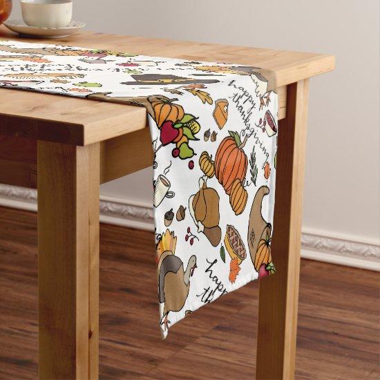 Thanksgiving Design with Pumpkins, Turkeys Runner
