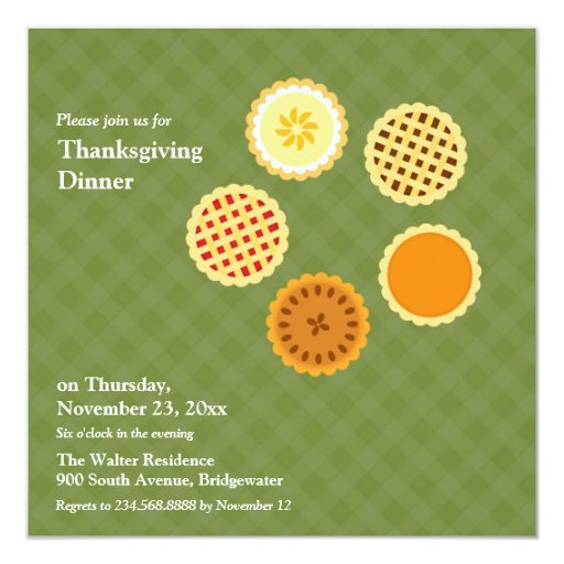"""Thanksgiving Dinner and Pies Flat Invitation 5.25"""" Square Invitation Card"""