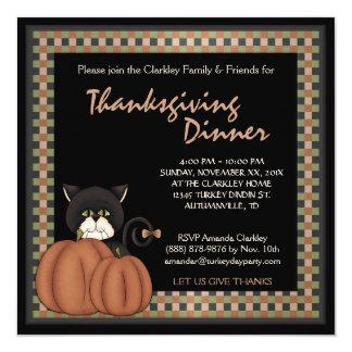 Thanksgiving Dinner Autumn Black Cat  Pumpkins Card