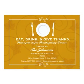 Thanksgiving Dinner Autumn Fall Invitation