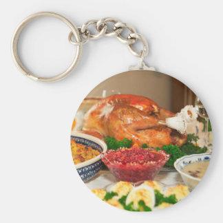 thanksgiving dinner basic round button keychain