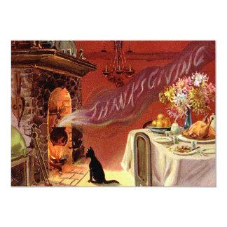Thanksgiving Dinner Black Cat Fireplace Turkey Card