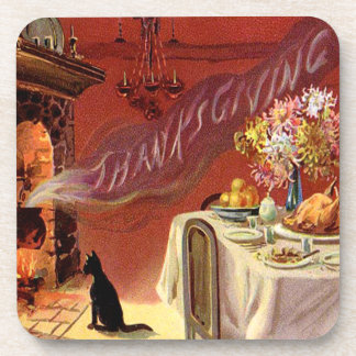 Thanksgiving Dinner Black Cat Fireplace Turkey Drink Coasters