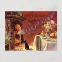 Thanksgiving Dinner Black Cat Fireplace Turkey Holiday Postcard