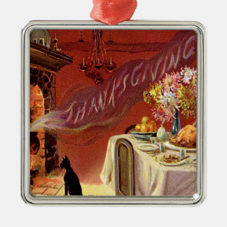 Thanksgiving Dinner Black Cat Fireplace Turkey Metal Ornament