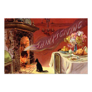 Thanksgiving Dinner Black Cat Fireplace Turkey Photo
