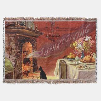 Thanksgiving Dinner Black Cat Fireplace Turkey Throw Blanket