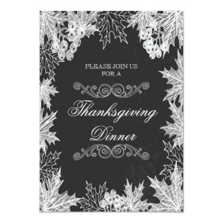 Thanksgiving Dinner Chalkboard Fall Leaves 5x7 Paper Invitation Card