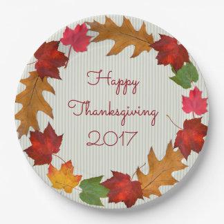 Thanksgiving Dinner Dated Leaf Border Paper Plate