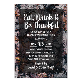 Thanksgiving Dinner Eat Drink & Be Thankful Party Card