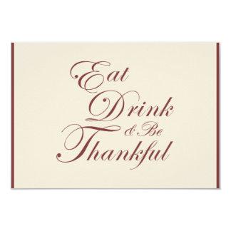 Thanksgiving Dinner | Eat Drink & Be Thankful RSVP Card