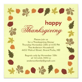 Thanksgiving Dinner Fall Leaves Invitation