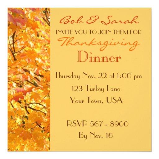 Thanksgiving Dinner - Fall Leaves - Invitation