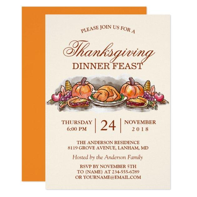 Thanksgiving Dinner Feast with Turkey Pumpkin Card