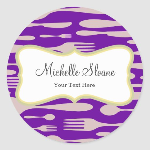 Thanksgiving Dinner Forks, Spoon and Knife Round Sticker