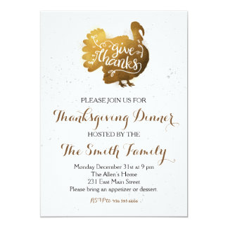 Thanksgiving Dinner Give Thanks Invitation