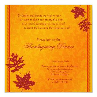 Thanksgiving Dinner Invitation at Zazzle