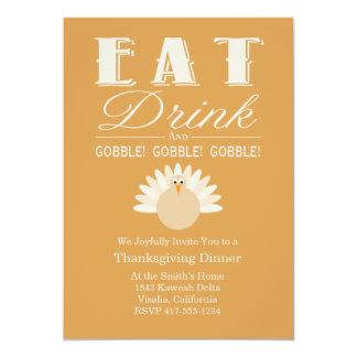 """Thanksgiving Dinner Invitation 5"""" X 7"""" Invitation Card"""