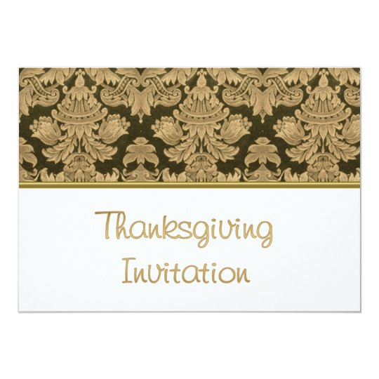 Thanksgiving Dinner Invitation with fabric pattern