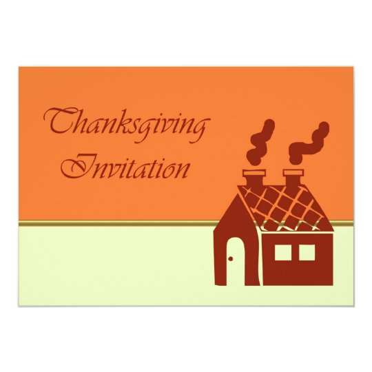 Thanksgiving Dinner Invitation with house