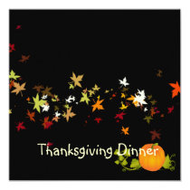 Thanksgiving Dinner, maple leaves/DIY background Card