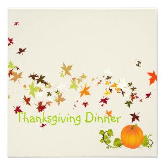 Thanksgiving Dinner, maple leaves Invitation
