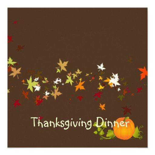 Thanksgiving Dinner, maple leaves Custom Invites