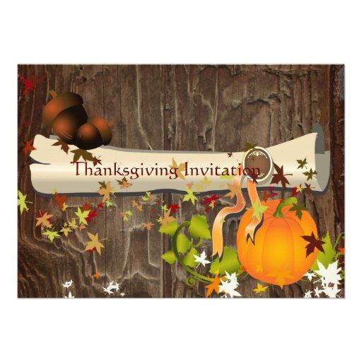 Thanksgiving Dinner, maple leaves Custom Announcement