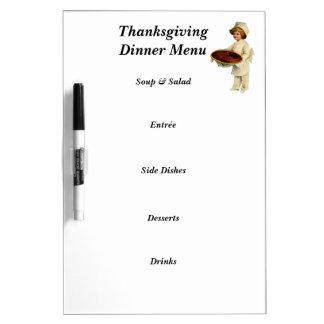 Thanksgiving Dinner Menu Dry Erase Board