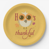 Thanksgiving Dinner Paper Plates Cute Owl thankful 9 Inch Paper Plate