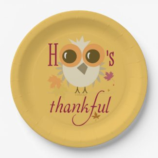 Thanksgiving Dinner Paper Plates Cute Owl thankful