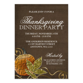 Thanksgiving Dinner Party Card at Zazzle
