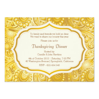 Thanksgiving Dinner Party Damask Faux Gold 4.5x6.25 Paper Invitation Card