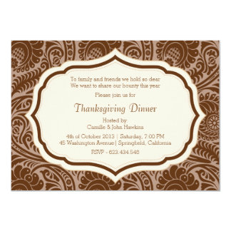 Thanksgiving Dinner Party Damask Invitation