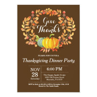 Thanksgiving Dinner Party Fall Autumn Brown Invitation