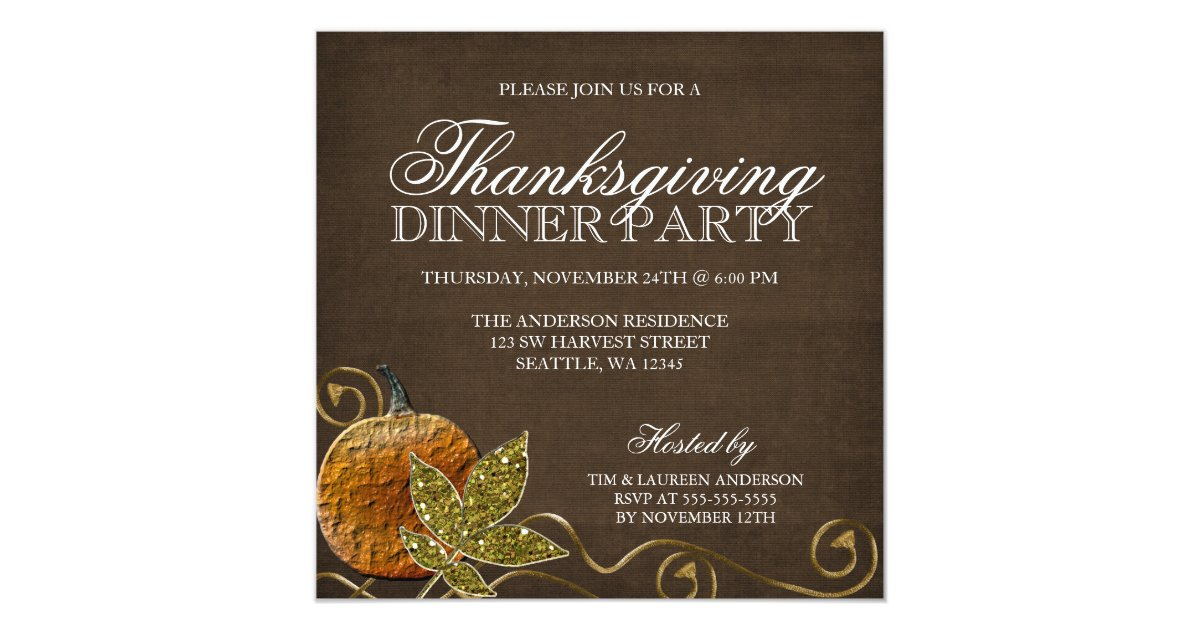 Thanksgiving Dinner Party Invitations & Announcements | Zazzle