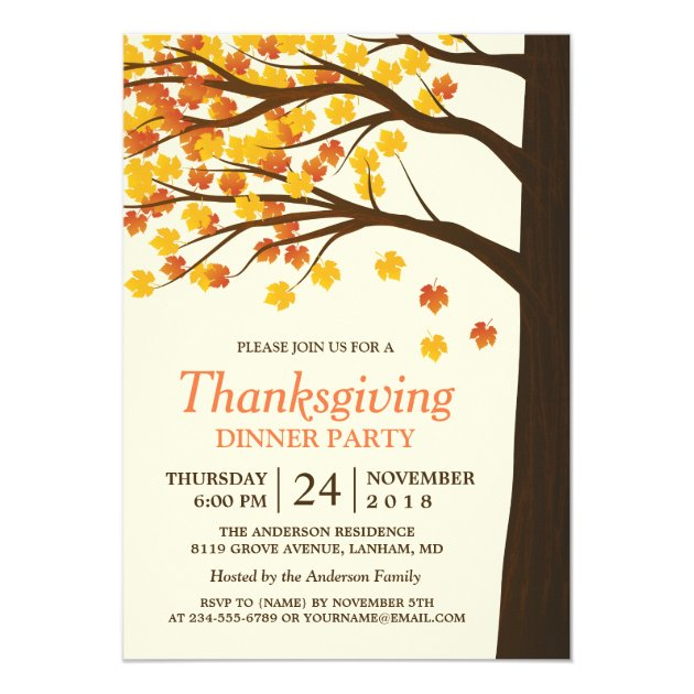 Thanksgiving Dinner Party Maple Leaves Autumn Tree Card (back side)