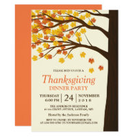 Thanksgiving Dinner Party Maple Leaves Autumn Tree Invitation