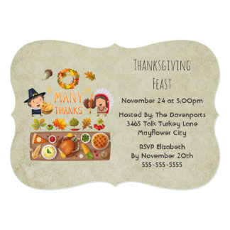 Thanksgiving Dinner Party - Pilgrim Illustration Card