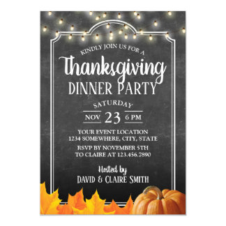 Thanksgiving Dinner Party Rustic Chalkboard Card