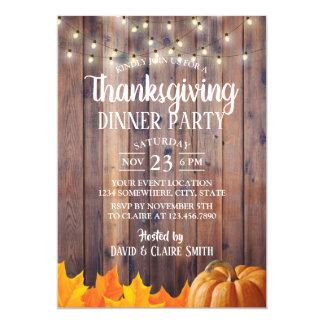 Thanksgiving Dinner Party String Lights Barn Wood Card