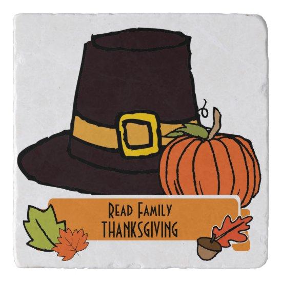 Thanksgiving Dinner Personalize Trivet, Pilgrim Trivet