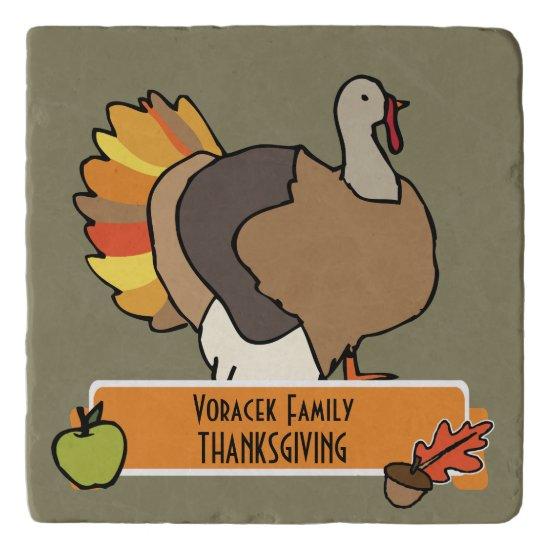 Thanksgiving Dinner Personalize Trivet, Turkey Art Trivet