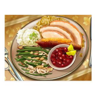 Thanksgiving Dinner Plate Postcard