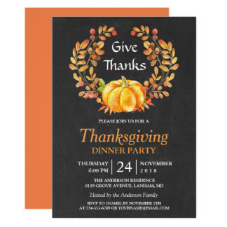 Thanksgiving Dinner | Rustic Autumn Chalkboard Card