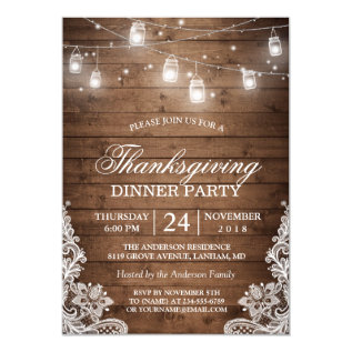 Thanksgiving Dinner Rustic Wood String Lights Lace Card at Zazzle