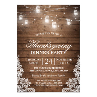 Thanksgiving Dinner Rustic Wood String Lights Lace Card